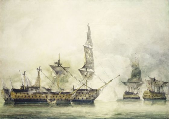 Constable, John: H.M.S. Victory at the Battle of Trafalgar. Fine Art Print/Poster (3595)